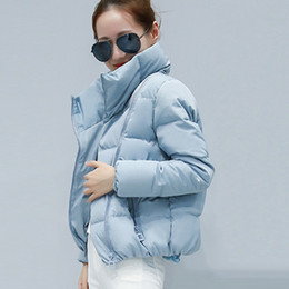 Wholesale short padded jackets for women for sale – winter Women Short Parkas Jacket For Women Winter Cotton Padded Solid Female Coats Casual Zipper Turtleneck Warm Woman Parka V191022