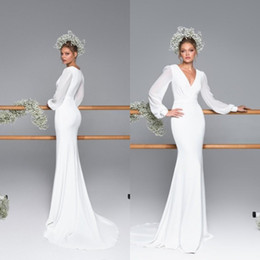 2020 Vintage Boho Wedding Reception Dresses Deep v neck with Long Sleeves Ruched Sheath Country Cheap Wedding dress Bridal Gown on Sale