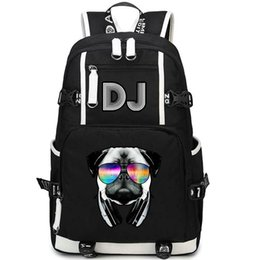print glass Australia - Glass pug backpack DJ dog music daypack Cool style print schoolbag Leisure packsack rucksack Sport school bag Outdoor day pack