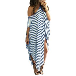Striped Maxi Dress Blue White Australia - 5XL Women Loose Long Striped Dress Batwing Sleeve Off Shoulder Summer Dress 2019 Split Asymmetric Casual Plus Size Maxi Dress