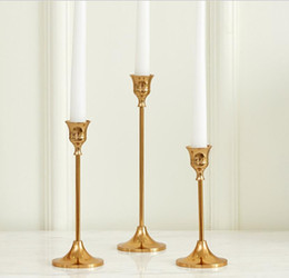 $enCountryForm.capitalKeyWord Australia - Vintage Gold Metal Candle Holders Home Table Decorations 3 Sizes Party Wedding Candles Holder For Dinner Wedding Favors Gifts AL2418