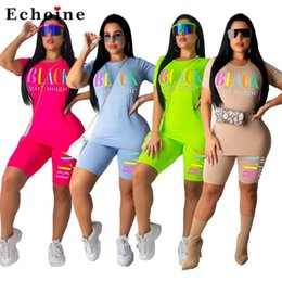 Wholesale bikers t shirts for sale – custom Women Pics Set Letter Printed Casual T shirt Tracksuit Biker Short Pants Fitness Colorful Streetwear Matching Set Female Suits