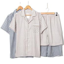 $enCountryForm.capitalKeyWord NZ - Men 2018 Plaid Pajamas Cotton Summer Men Sleep Short Pants Pijamas Sleepwear Night Suit Casual Homewear Male Pyjama Set 2pcs set T2190613