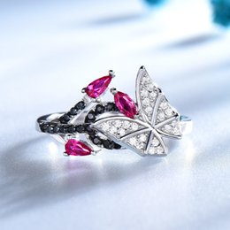 Butterfly Rings For Women Australia - Umcho Solid 925 Sterling Silver Rings For Women Natural Black Spinel Ruby Gemstone Fashion Unique Butterfly Ring Fine Jewelry J190613