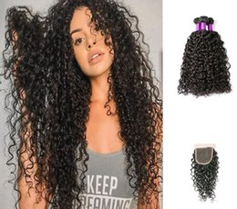 human hair pieces for women 2019 - Water Wave 3 Bundles With Closure Brazilian Virgin Human Hair Weave Bundles With Lace Closure Perstar Hair Extensions Fo