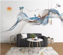 $enCountryForm.capitalKeyWord Australia - Original innovative Chinese style hand-painted abstract lines ink landscape elk background walls paper wallpaper