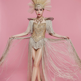 $enCountryForm.capitalKeyWord Australia - Sexy Gold Rhinestones Long Tassel Bodysuit Headdress Female Singer Nightclub Bar Team Show Outfit Birthday Party Stage Clothing