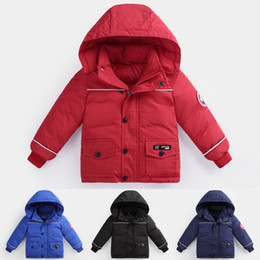 Wholesale military winter jackets resale online – kid Down Jackets colors Winter Warm Hooded down coat Boys Girls Outwear Kids Down Parkas Jacket Child Thicken coat Windbreaker GJY870