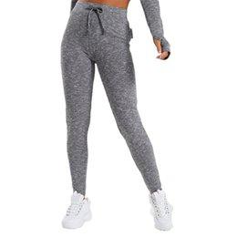 Опт Европейский стиль плотно подходят фитнес брюки Slounge леггинсы уголь Мергель Сексуальная Высокая Талия толкает вверх бедра быстросохнущие йога брюки #713650