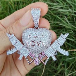 $enCountryForm.capitalKeyWord Australia - Brass CZ For Love Heart With Gun Pendants Men And Women Necklace Hip Hop Jewelry Gift CN116