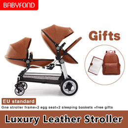 Discount pram strollers - EU tax free Luxury high landscape PU prams twins Baby stroller lightweight folding can sit lying double baby stroller