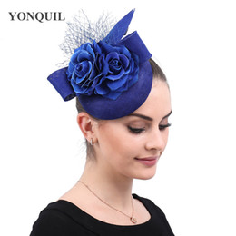 Royal wedding hats online shopping - Vintage imitation sinamay ladies  fascinator royal blue hats with flower 874c78bdeaa
