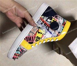 graffiti shoes 2019 - 2019 Designer Shoes Studded Spikes Flats High Top Sneakers Red Bottoms Shoes Mens Womens Party Lovers Graffiti Leather S