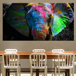 elephant canvas oil paintings abstract Australia - Africa Elephant Animal Landscape Oil Painting on Canvas Pop Art Poster and Print Abstract Art Wall Picture for Living Room Decor
