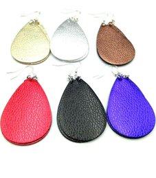 China Leather Earrings Lightweight Faux Leather Leaf Earrings Teardrop Dangle Handmade for Women Girls suppliers