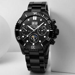 Luminous big man watch online shopping - Multifunction Sport Watches men Big Dial Mechanical Watches Men Calendar Moon phase Luminous Swim Sapphire Montre