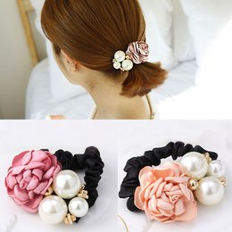 1 Pc Fashion Women Satin Ribbon Big Rose Flower Pearls Hairband Floral Decor Elastic Ponytail Holder Hair Band Accessories Apparel Accessories