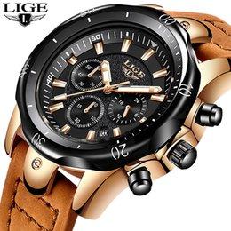 Mens Military Wrist Watches Australia - 2018 Lige Mens Watches Brand Luxury Gold Quartz Watch Men Casual Leather Military Waterproof Sport Wrist Watch Relogio Masculino Y19052201