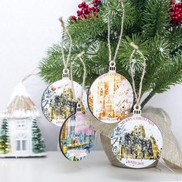 small pendants Australia - Wood Painted Small Wooden Pendants Ornaments Closet Doors Windows Christmas Tree Decoration Hang Tag Party Decoration