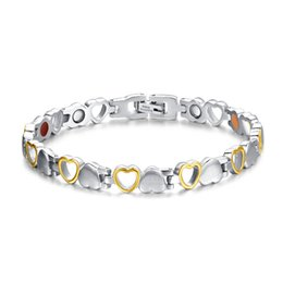 toggle chain bracelet NZ - Fashion Healthy Magnetic Bracelet For Woman Heart Design 316l Stainless Steel Health Care Elements Bracelet Hand Chain Jewelry MX190727