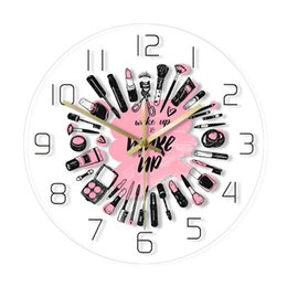 cosmetic beauty style Australia - Wake Up & Make Up Cosmetics Collection Modern Wall Clock Beauty Salon Business Wall Sign Make Up Set Silent Movement Wall Clock T200601