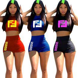 c3c67d4dc8df SleeveleSS hoodieS women online shopping - F Letter Tracksuits Hoodies Crop  Tops Shorts set Women Sleeveless
