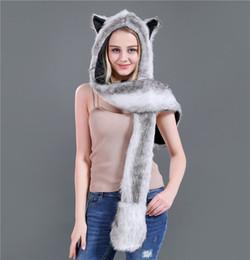 85c23991a82 New Fashion Imitation Fur Hat Cartoon Animal Hat Scarf Gloves One Piece Women  Winter Set