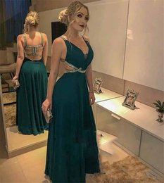 cheap red sparkly prom dresses NZ - Sparkly Plus Size Cheap Evening Dresses 2019 A Line Backless Hunter Green Long Chiffon Arabic Formal Dresses Prom Party Gowns