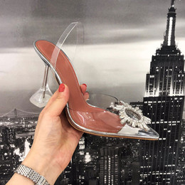 TransparenT open dress online shopping - 2019 designer transparent crystal high heeled shoes leather women pump women high heels pointed toe golden triangle with wedding shoes11cm