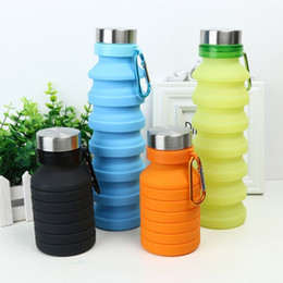 foldable water bottle bpa free Australia - New creative design collapsible foldable water bottle BPA free portable reusable leakproof silicone sports travel water bottle