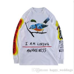 t shirts hand painting Australia - Wes Lang Wyoming Tee hand-painted graffiti on a thick long-sleeved T-shirt long shirt