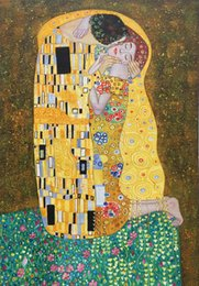 $enCountryForm.capitalKeyWord Australia - The kiss painting by Gustav Klimt oil reproduction Hand painted canvas art romantic lover artwork for wall decor