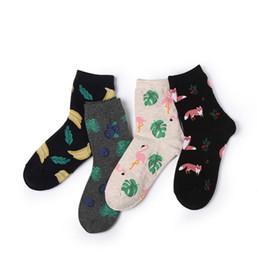 018387635 Women fox socks online shopping - Summer ladies printed socks fashion new  style cotton flamingo blueberry