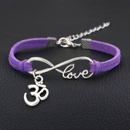 $enCountryForm.capitalKeyWord NZ - Gothic Punk Metal Vintage Infinity Love 3D Shape Sign Purple Leather Suede Bracelet Wristband Cuff Bangles Cool Men Women Multilayer Jewelry