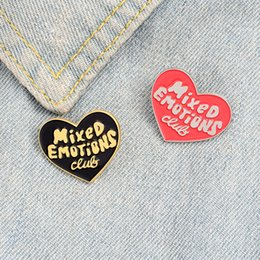 figure emotions NZ - Mixed Emotion Club Enamel Pin Custom Black Red Heart Brooches Badges Bag Shirt Lapel Pin Buckle Fun Jewelry Gift for Friends zdl0604.