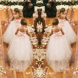 $enCountryForm.capitalKeyWord Australia - New Ball Gown Spaghetti Straps Flower girls Dresses Beaded Sash Puffy tulle Crystal Formal Party Kids Pageant Dresses Big Bow Back suit