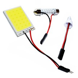 Discount car dome light adapter - T10 Adapter Festoon Base COB LED Panel Bulb 24 SMD Car Dome Light Auto Interior Map Roof Reading Lamp Super White DC 12V