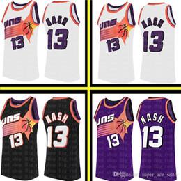 9e572d57e Men's Phoenix Basketball Suns Steve 13 Nash Mitchell & Ness 1996-97 Hardwood  # Classics Swingman Jersey Retro Mesh Black White Purple