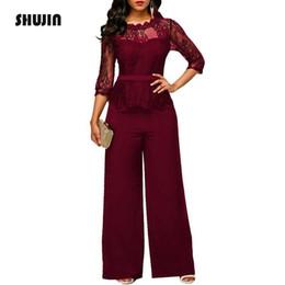 Lace Jumpsuits Wide Leg Australia - Shujin 2018 Lace Jumpsuits For Women Autumn High Waist 3 4 Sleeve One Piece Peplum Rompers Elegant Wide Leg Pants Plsu Size Y19051601