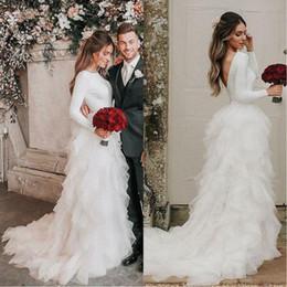 Boho wedding dress tulle ruffle online shopping - 2020 Glamorous Long Sleeves Country Wedding Dresses Cascading Ruffles Layers Bridal Gowns Vestidos De Novia Plus Size Boho Wedding Dress