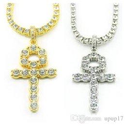 Gold 18k Shop Australia - Hot Europe and America Egyptian Diamond Cross Pendant Night Shop Hip-hop Men Women Alloy Necklace Golden Silver Drop Shipping