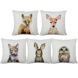Deer Chair Australia - Baby Deer Fox Bear Rabbit Owl Tiger Panda Cushion Cover Animal Pillow Covers 45X45cm Decorative Sofa Chair Pillow Case Room Decor