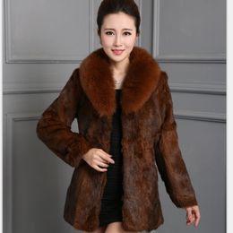 ebafd1f7999 Luxury Big Genuine Full pelt Rabbit Fur Coat With Real Natural Fox Fur  Collar Hot Wholesale Customize Plus Size Overcoat H9-9-04 C19011401