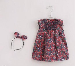 French Style Clothes Australia - French Series Children and Girls Summer Clothes Cotton Dresses Baby vest skirt fresh natural hair hoop 0308