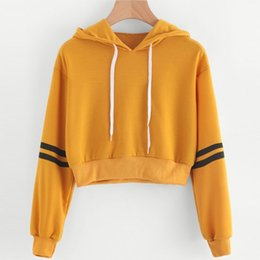 girls yellow sweatshirt Canada - KLV Fashion Chic Women Girls Long Sleeve Crop Top Hoodies Sweatshirt Striped Casual Pullover Soft Yellow New