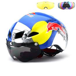 Venta al por mayor de 3 lentes 290g Aero Goggles Bicicleta Casco Bicicleta de carretera Seguridad en el deporte Casco Montar Mens Speed Airo Time Trial Ciclismo