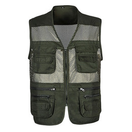 green army tactical vest men NZ - 2019 Men Multi-Pocket Classic Waistcoat Male Sleeveless Unloading Solid Coat Work Vest Photographer Tactical Masculino Jacket