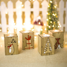 Trees lamp online shopping - Creative Christmas Wood Christmas tree Gift box Letter Elk Candle Holder Candlestick Table Lamp For Tea Light Decoration X9cm