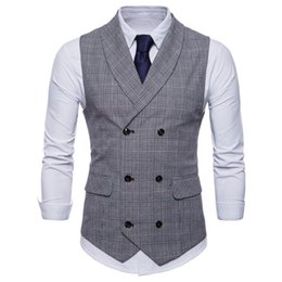 silk lapel flowers NZ - 2019 Suit Vest Men Jacket Sleeveless Beige Gray Brown Vintage Tweed Vest Fashion Spring Autumn Plus Size Waistcoat