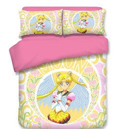 Adult Anime Bedding UK - Japanese Anime Sailor Moon Bedding Sets pink yellow Duvet Cover Quilt cover Pillowcase Princess style Best-selling bedclothes
